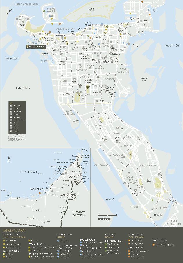 Схематическая карта острова, на котором расположен Абу-Даби