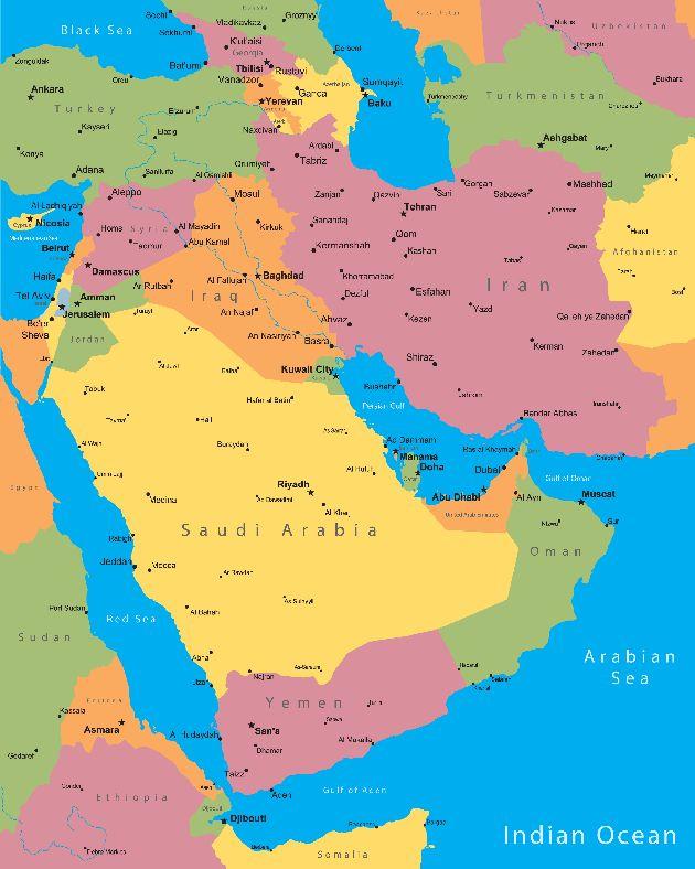 Абу-Даби на карте Среднего Востока
