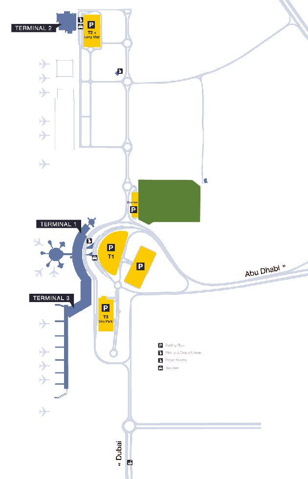 Общая схема аэропорта в г. Абу-Даби, демонстрирующая расположение трёх терминалов