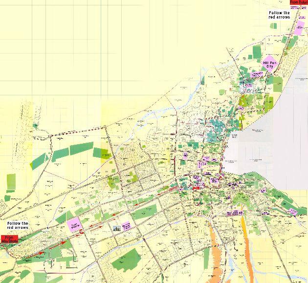 Подробная карта города Аль-Айн с отмеченными на ней отелями, больницами, клубами, торговыми центрами и улицами