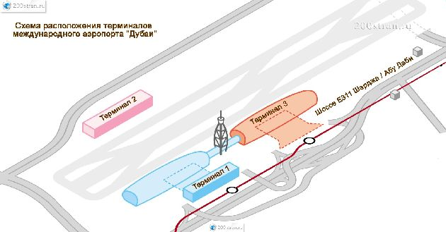 Общий план аэропорта г. Дубай