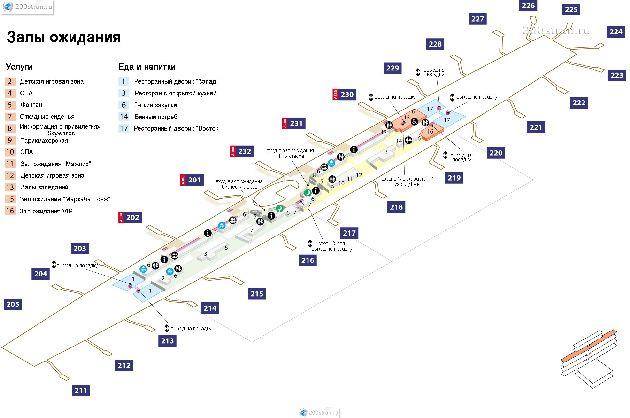 Схема лаунж-зоны в терминале 3 на русском языке