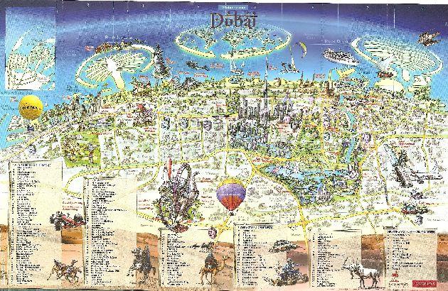 Карта с перечнем отелей Дубая категории 3,4,5*