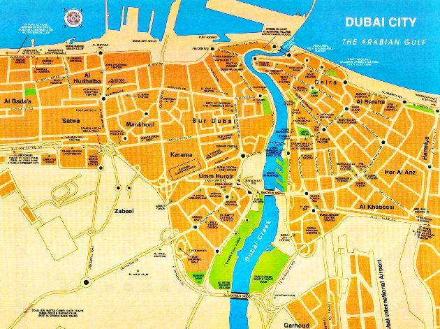 Фрагмент карты города Дубай