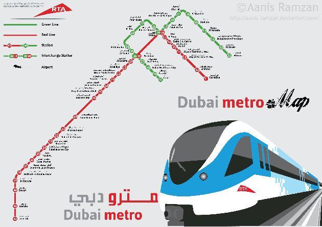 Схема дубайского метро: зелёная и красная ветки