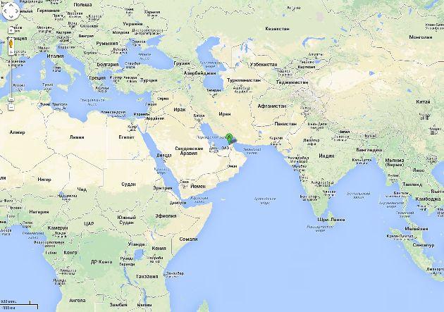 Расположение Дубая на карте мира