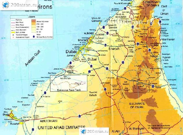 Карта эмирата Дубай