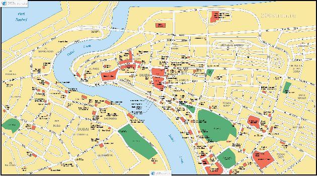 Карта с дорогами и улицами Дубаи