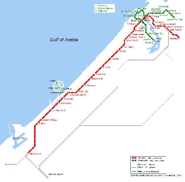 Маршрут метрополитена пролегает вдоль побережья