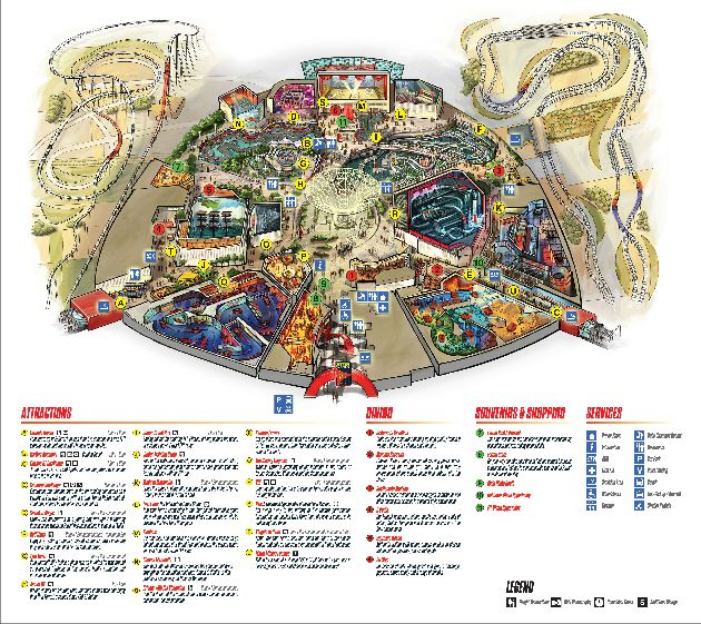 Планировка развлекательного парка ''Ferrari World'' на острове Яс в 10 км от Абу-Даби