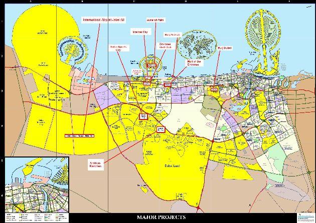 Самые популярные проекты г. Дубая на одной карте