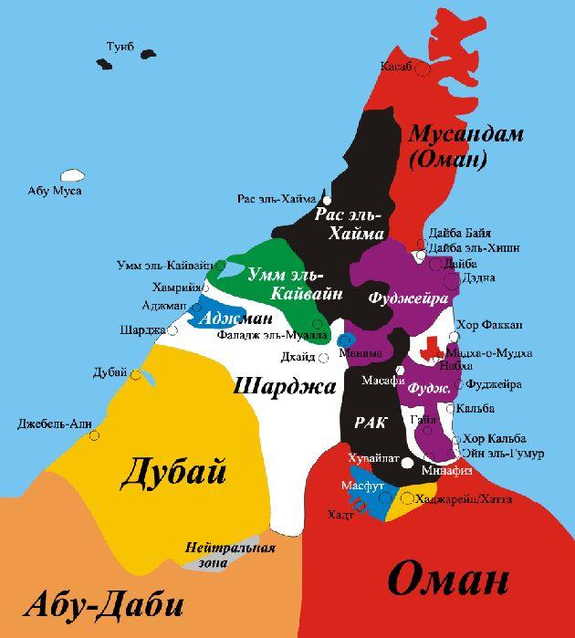 На этой карте видно, что площадь эмирата Шарджа невелика