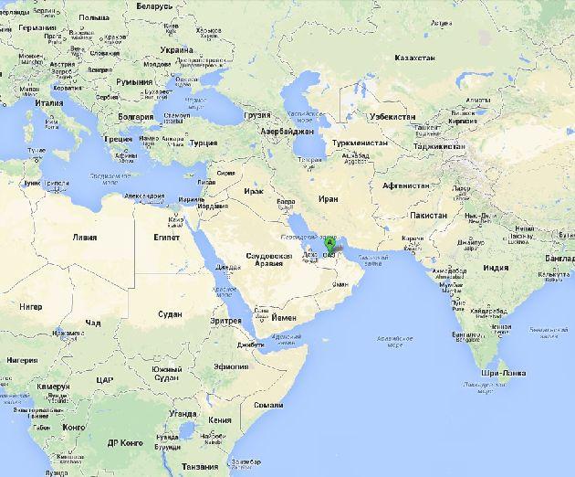 Эмират Шарджа на карте мира