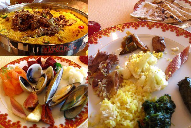 Обед в ресторане традиционной арабской кухни отеля  ''Al Iwan''