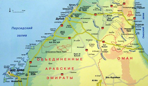 Фуджейра на карте ОАЭ, Эмираты