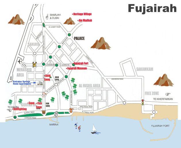 Где находится Фуджейра? Карты Фуджейры